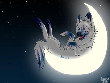 Crescent moon wolf by Akitasune