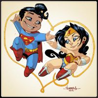 Superman and Wonder Woman Chibi love by Red-J