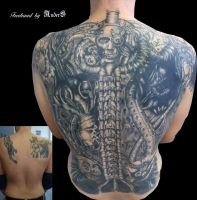 Freehand Back Coverup by Anderstattoo