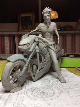 WIP - Motorbike and rider by ClawsUnion