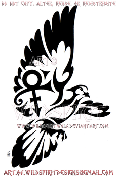 Tribal Dove - Prince Memorial Design by WildSpiritWolf