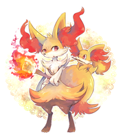 Braixen and fennekin by Natx-chan
