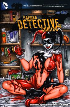 Harley Quinn bodypaint sketch cover by gb2k