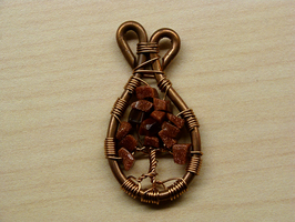 Copper and Goldstone Tree by SerenFey