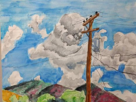 telephone lines clouds mountains by Mork-from-Ork
