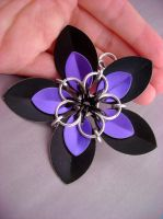 Black and Purple BIG Scalemaille Flower by monsterkookies