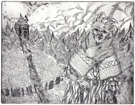 Baba Yaga - etching by Matpa