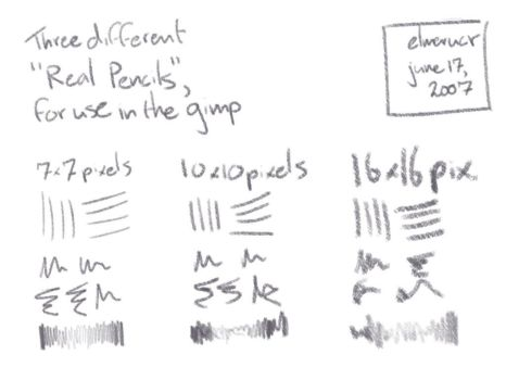 Real Pencil Brushes for GIMP by elmerucr