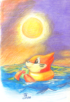 + Buizel in the Sunset + by Phoelion