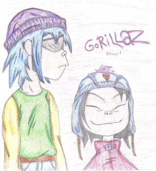 2-D and Noodle with Hats by DragonRiderofRohan