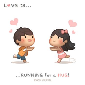 Love is running for a hug by hjstory