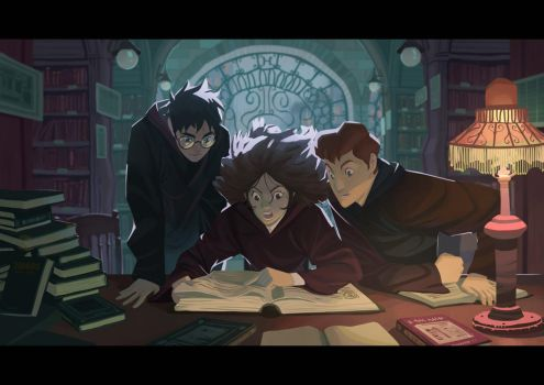 Harry Potter - In the library by Nesskain
