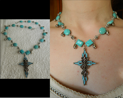 Turquoise Cross Necklace by DOC-Ash1391