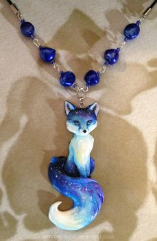 Starry Evening Fox Necklace by Gatobob