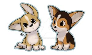 Corgi puppies by mewgal