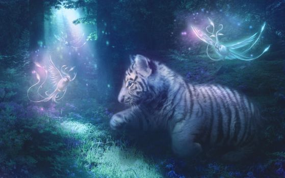 White Tiger Cub and Phoenixes by MariLucia