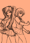 Daily DOA Sketches pt.3 Mila and Ayane by bb-penaz