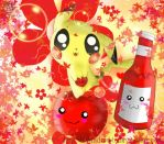 Pikachu and Apple and Ketchup! by NyandrewB