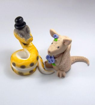 Wedding Cake Topper, Snake and Armadillo by HeartshapedCreations
