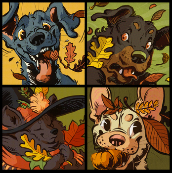 Autumn Dogs by Rowkey