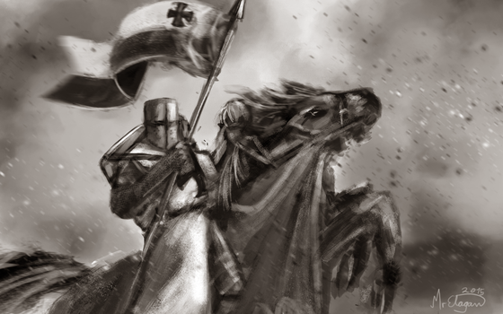 Call to Arms: Templar Knight on Horseback by MrElagan