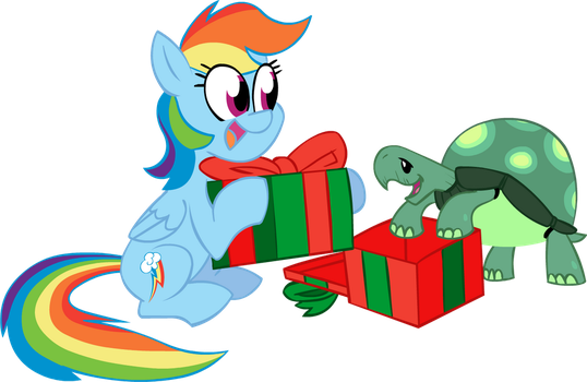 Rainbow Dash and Tank With Presents by JeffKyler14