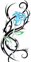 blue rose tribal by KatieConfusion