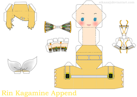 Rin Kagamine Append Papercraft by aikaaa