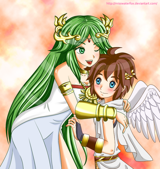 Palutena And Pit by Misswaterfox
