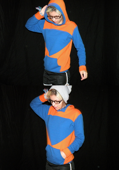 orange and blue hoodie by shelbyRUDE