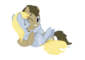 Derpy and Doctor Whooves by ThePhoebster