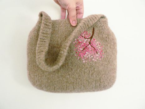 Knitted Felted Bag with Cherry Blossoms by MuffinTopKnits