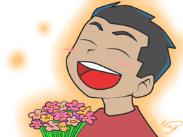 Kid and flowers by Xing-2-Lee