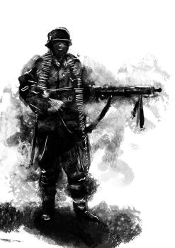 German Soldier with MG-42 by PanzerCobra
