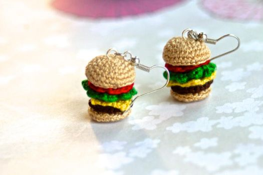 Crabby Patty Earrings by TheBittiestBaubles
