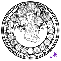 Pocahontas Stained Glass -line art- by Akili-Amethyst