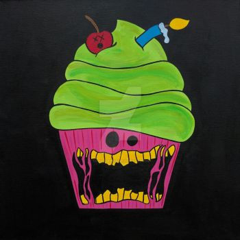 Zombie Cupcake Painting by ToniTiger415