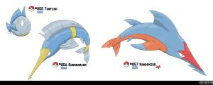 055, 056, 056: Tuna/Sword/SawFish Fakemon by LeafyHeart