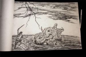 Pirate vs Octopus by 666mephistopheles