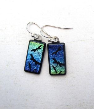 Dragonfly Earring Blue Green Fused Glass by FusedElegance