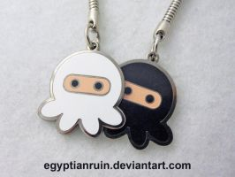 Black and White Ninja Octopus Keychain by egyptianruin