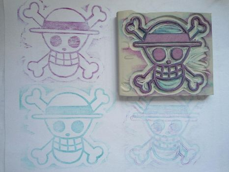 One Piece Mugiwara no Kaizoku Carved Rubber Stamp by mightydumpling