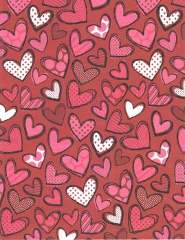 Red and White Doodle Hearts by FredtheCow-Stock
