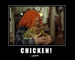 Leeloo loves Chicken by TheHande