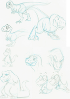 Cartoony T-rex Sketches by Carolzilla