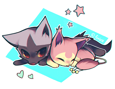 Poochyena and Skitty by foxlett