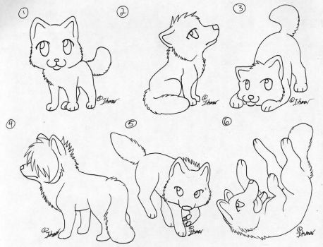 Free Chibi Wolf Lineart by itsmar-Adopts