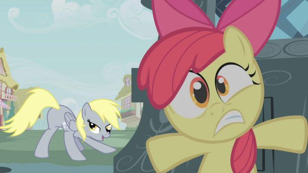 Applebloom is scared of Derpy by JarexTheBrony