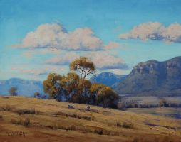 Australian Landscape grazing sheep by artsaus