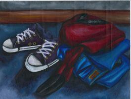 Shoes, Jeans, Corner by MagnoliasArt